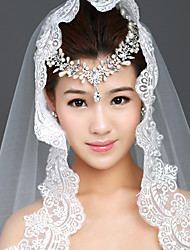 One-tier Cathedral Wedding Veil With Lace Applique Edge