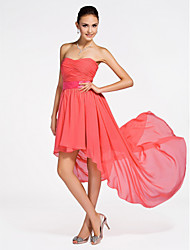 Asymmetrical / Short/Mini Chiffon Bridesmaid Dress - Watermelon Plus Sizes / Petite A-line / Princess Strapless / Sweetheart