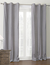 Modern Two Panels Solid Grey Living Room Polyester Panel Curtains Drapes