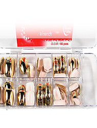 100PCS Pro French False Nail Half Tips with Glue Nail Art Gold