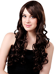 Capless Long Fluffy Synthetic Brown Curly Hair Wig Side Bang