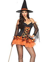 Charme sexy in bianco e nero e arancio in poliestere Costume Strega (2 Pezzi)