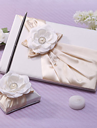 Guest Book / Pen Set Satin Garden ThemeWithSash / Faux Pearl
