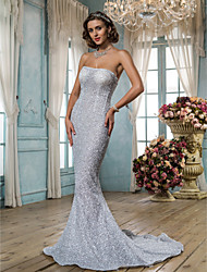 Lanting Bride Trumpet/Mermaid Petite / Plus Sizes Wedding Dress-Sweep/Brush Train Strapless Tulle / Sequined