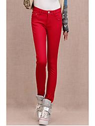 ts simplicidade básica elásticas velet Cintura Oriente vermelhas calça jeans