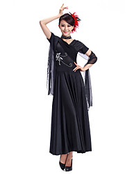Ballroom Dance Dresses Women's Training Viscose Black / Red Modern Dance / Ballroom Spring, Fall, Winter, Summer Short Sleeve