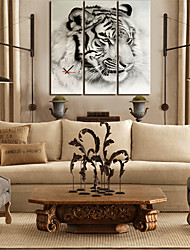 "28 ""-35"" Country Style Lion wandklok In Canvas 3pcs"