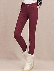 ts simplicidade básica elásticas velet Cintura Oriente de vinho calças jeans
