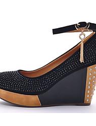 Moolecole Women's Black Wool Cowhide Rubber Sole Diamond Round Head Wedges Shoes