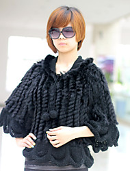 3/4 Sleeve Hooded Collar Evening/ Office Rabbit Fur Jacket (More Colors)