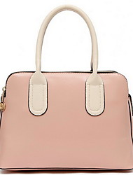 DODO Women's Pink Pu Leather Color Contrast Top Grade Handbag