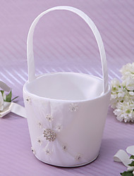 Ivory Flower Basket In Satin With Rhinestones And Sash Flower Girl Basket