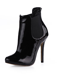 Elegant Patent Leather Stiletto Heel Ankle Boots Party Shoes