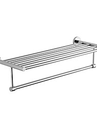 Contemporary Brass Chrome Finish Double Layer Towel Rack