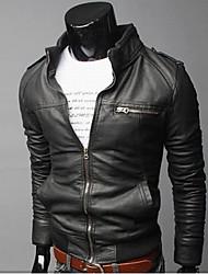 Noir stand Neck QN Hommes maigres laver Manteau Pu