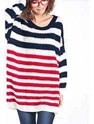 Women's Round Collar Loose Stripe Plus Sweater
