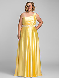 TS Couture Plus Size Prom Formal Evening Dress - Elegant Sheath / Column One Shoulder Floor-length Charmeuse