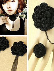 Handmade Retro Black Wool Flower Classic Lolita Accessories Set