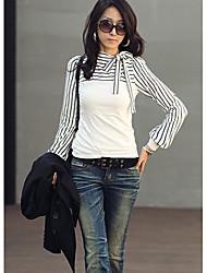 Damen-Blusen Shirts New Rollkragenpullover Stripes Lange Puff Sleeve Cotton Casual Tops Blusen T-Shirt