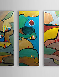 Hand Painted Oil Painting Abstract Puzzle with Stretched Frame Set of 3 1310-AB1197