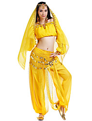 Belly Dance Outfits Women's Performance Chiffon Beading Coins Sequins 4 Pieces Long Sleeve Natural Top Pants Hip Scarf Headpieces
