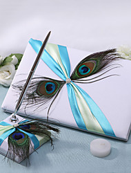 Chic Wedding Guest Book And Pen Set With Twin Peacock Feather Sign In Book
