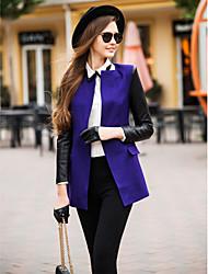 TS PU Leder Spleißen Tweed Blazer