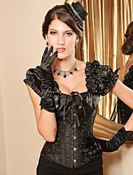 Preto Brocade Pattern Gothic Lolita espartilho desossado