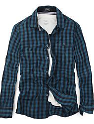 Coupe près du corps col de chemise manches longues Casual Vintage coton à carreaux Chemises homme