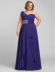 Ts couture plus size formal evening evening dress - regency / a-line um ombro de comprimento do chão chiffon