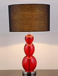 Stylish Table Light With Fabric Linen Shade Blow Red Glass Body