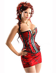 Cotton Plastic Boned Red Bustier Cincher Overbust Bride Corset Sexy Lingerie Lingerie With Mini Skirt and G-string Shaper