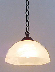 Pendant, 1 Light, Traditional White Painting Metal Glass