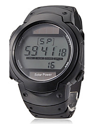 Men's Multi-Functional Round Dial Black Rubber Band Quartz Analog Wrist Watch
