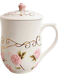 Pink Rose Mug with Lid, Ceramic 14oz