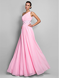 A-Line One Shoulder Floor Length Chiffon Prom Black Tie Gala Dress with Beading by TS Couture®