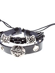 Unisex Weave Fabric Leather Bracelet