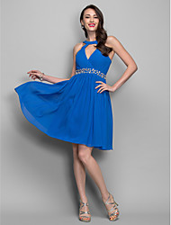 Homecoming Cocktail Party/Homecoming/Holiday Dress - Royal Blue Plus Sizes A-line Jewel Short/Mini Chiffon