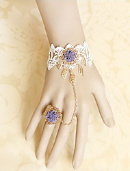Handmade White Lace and Purple Satin Rose Sweet Lolita Ring Bracelet