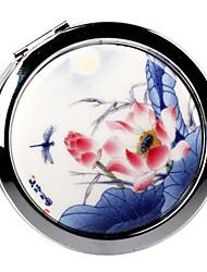 Lotus pintura china de estilo antiguo Portable espejo de maquillaje cerámica