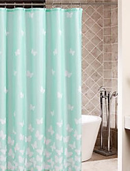 "Shower Curtain Light Green Butterfly Thick Fabric Water-resistant W71"" x L78"""