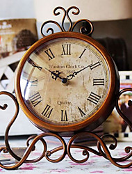"11""Floral Round Metal Tabletop Clock"