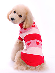 Dog Sweater Red Dog Clothes Winter Stripe