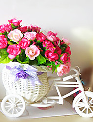 "9 ""couleur rose Roses Arrangement avec canne Tricycle style Vase"