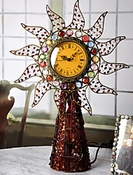 "19""Retro Style Metal Analog Tabletop Clock"