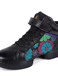 Women's Leather Dance Shoes With Flower For Ballroom Sneakers(More Colors)