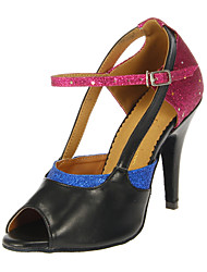 Customizable Women's Dance Shoes Latin/Salsa Leatherette/Sparkling Glitter Customized Heel Multi-color