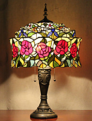 Mongolian Yurt Design Table Lamp, 2 Light, Tiffany Resin Glass Painting