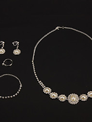 Fashion Pearl Rhinestone Jewelry Sets(Necklaces&Earrings&Rings)