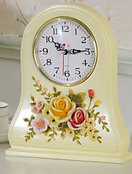 "10""Country Type Bisque Polyresin Analog Tabletop Clock"